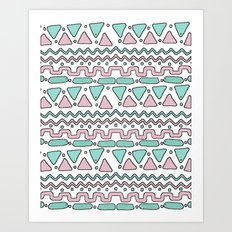 Pink and Mint Art Print