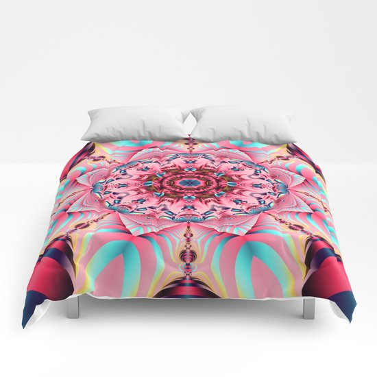 Blooming in Pink, floral kaleidoscope design Comforters