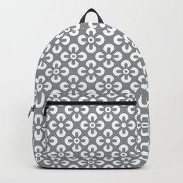 Gray White geometric flowers grid pattern Backpack