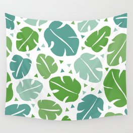 Monstera tropical summer leaf botanical pattern Wall Tapestry