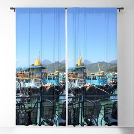 Boats and bicycles Blackout Curtain