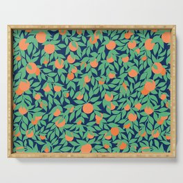 Oranges and Leaves Pattern - Navy Blue Serving Tray