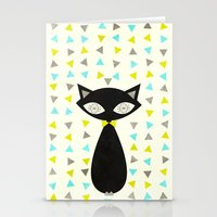 mid century modern Stationery Cards featuring Mid Century Cat  by Laura Ruth