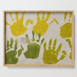 print with painting on hands Serving Tray