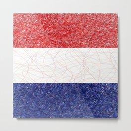 Netherlands Flag Scribble Metal Print