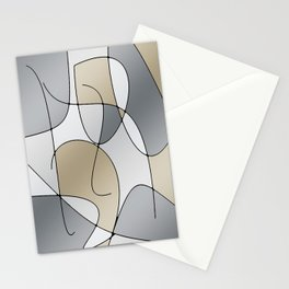ABSTRACT CURVES #1 (Grays & Beiges) Stationery Cards
