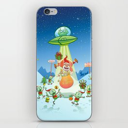 Santa Claus Abducted by a UFO just before Christmas iPhone Skin