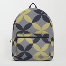 Blue Yellow-Green Grey Flower Pattern Pantone 2021 Color of the Year Ultimate Gray 17-5104 & Accents Backpack