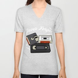 Never forget VHS, Floppy Disc and Cassette Tapes designs Unisex V-Neck