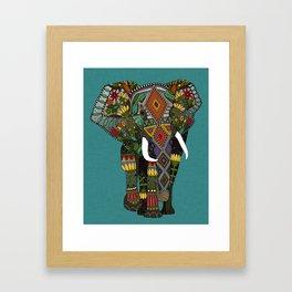 floral elephant teal Framed Art Print