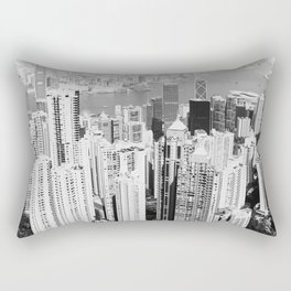 Hong Kong Cityscape // Sky Scraper Skyline Landscape Photography Black and White Buildings Rectangular Pillow