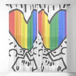 Pride Heart LGBT Homage to Keith Haring Sheer Curtain