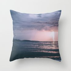 Lightning over the Strait of Georgia Throw Pillow