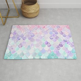 Cute Mermaid Pattern, Light Pink, Purple, Teal Rug