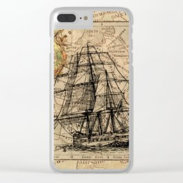 VINTAGE EUROPEAN MAP & SHIP Clear iPhone Case