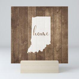 Indiana is Home - White on Wood Mini Art Print