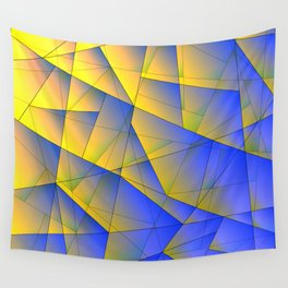 Bright fragments of crystals on irregularly shaped yellow and blue triangles. Wall Tapestry