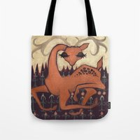 antler Tote Bags featuring Antler Deer by Jennifer Leedy Steiner