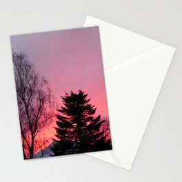 Sunset over snow capped Cumbrian Mountains Stationery Cards