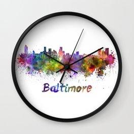 Baltimore skyline in watercolor Wall Clock