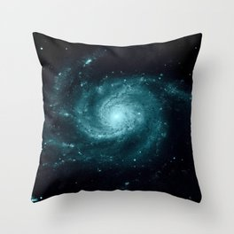 Spiral gALAxy Teal Throw Pillow