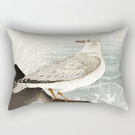 Seagulls at the beach - Vintage Japanese woodblock print Art Rectangular Pillow