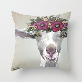 Flower Crown Goat Tan, Cute Goat Painting Throw Pillow