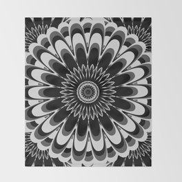Black & White Flower Mandala Throw Blanket