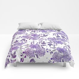Bouquet of Purple Roses Comforters