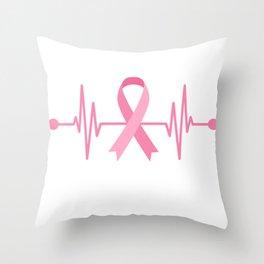 Breast Cancer Awareness Heartbeat Throw Pillow