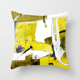 Track and field in yellow Throw Pillow