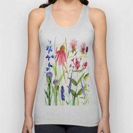 Botanical Colorful Flower Wildflower Watercolor Illustration Unisex Tanktop