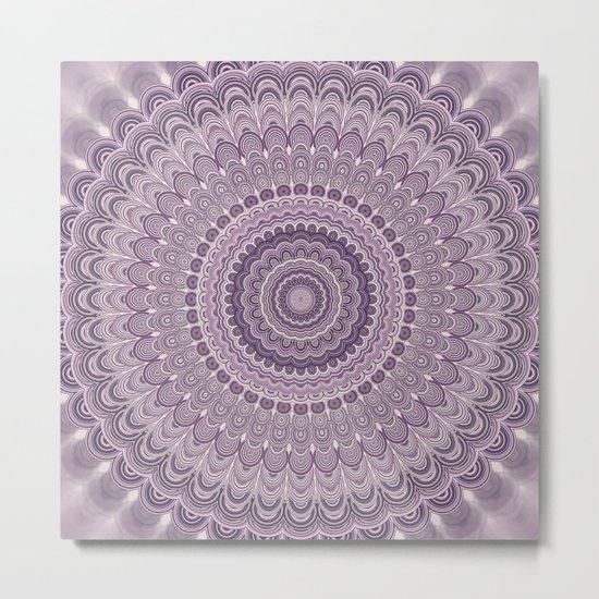 Purple feather mandala Metal Print
