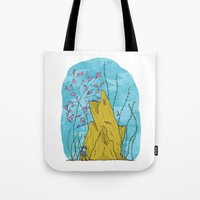 the life aquatic Tote Bags featuring Our Life Aquatic by Hamburger Hands