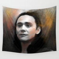 loki Wall Tapestries featuring Loki by Kate Dunn