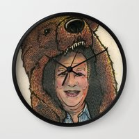 marc Wall Clocks featuring Bear Suit Marc by Kyle Miller