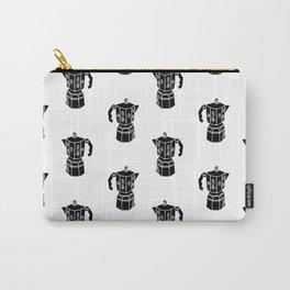 Moka Coffee Pot coffee lover black and white minimal modern kitchen linocut art Carry-All Pouch