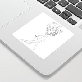 Minimal Line Bloom Sticker