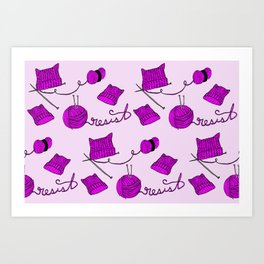Resist with Pussy Hats and Knitting Needles Art Print