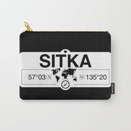 Sitka Alaska Map GPS Coordinates Artwork with Compass Carry-All Pouch
