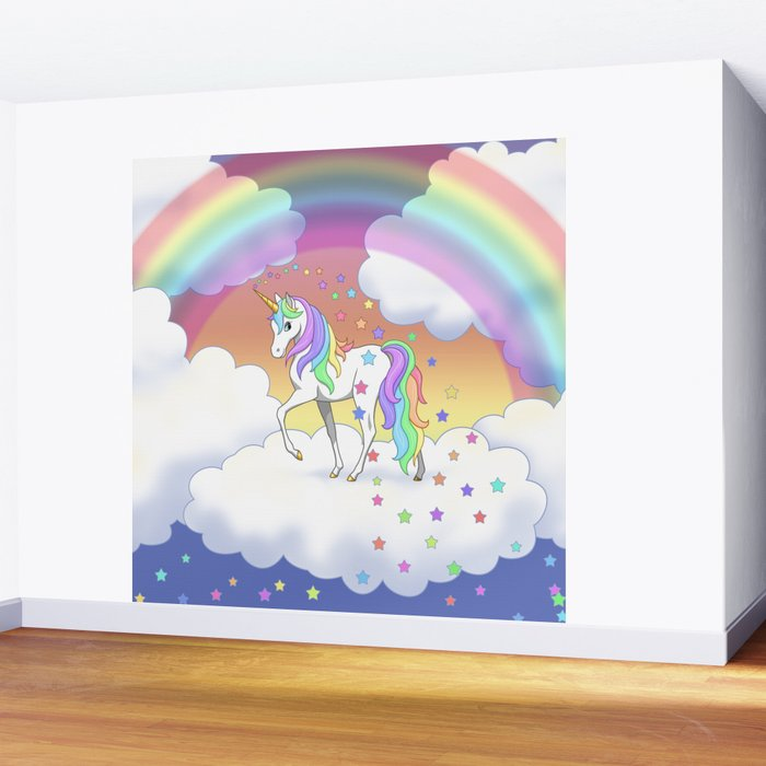 Pretty Rainbow Unicorn and Stars Wall Mural by csforest Society6