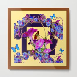 Indigo Purple Morning Glories Butterfly Patterns Brown Cream Art Metal Print