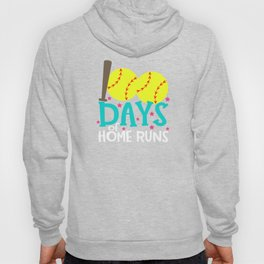 Best 100th Day of School Softball 100 Days of Home Runs Hoody