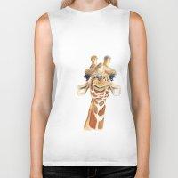 giraffe Biker Tanks featuring Giraffe  by Tussock Studio