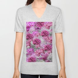 ORCHIDS ROSES AND MAGNOLIAS PINK Unisex V-Neck