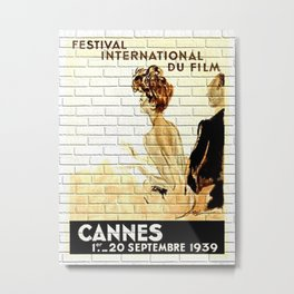 Retro Cannes Film Festival Metal Print