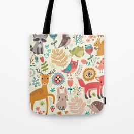 Woodland Animal Pattern Tote Bag