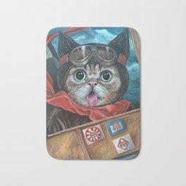 Lil Bub Takes Flight, cute cat art, oil painting portrait, flying plane in sky, kitty, kitten Bath Mat