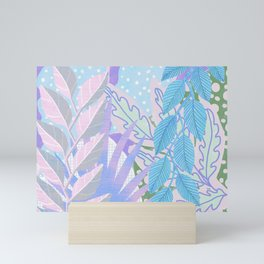Modern Jungle Plants - Blue, Purple Mini Art Print