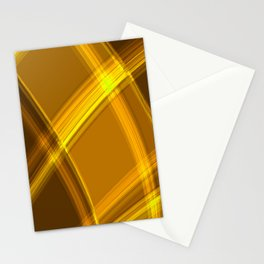 Smooth yellow curved lines with bright luminous nets of intersecting stripes.  Stationery Cards